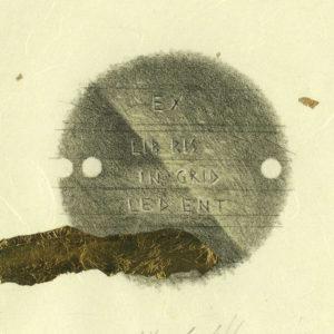 Ex Libris Ingrid Ledent /  Lithograph, schlagmetal leaf /  15x12cm /  2016
