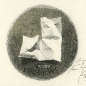 EX LIBRIS Magdy W. / lithograph on marble / 8x8cm / 2018
