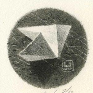 EX LIBRIS Oli T. / lithograph on marble / 8x8cm / 2018